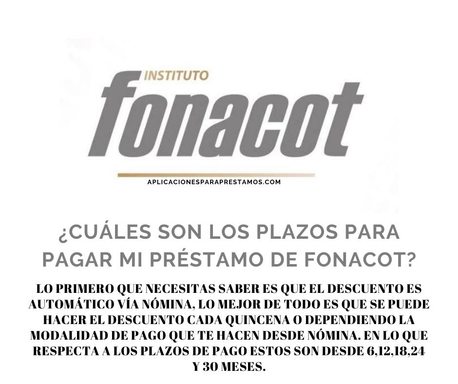 Cuáles son los plazos para pagar mi préstamo de Fonacot